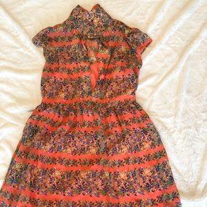 Floral print button front dress